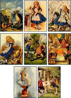 "Set of Alice in Wonderland Note Cards. The cards come with 1 printed envelope to hold the cards. One of each design is part of this sale. They measure 2.5""x3.5"" have printing on the back of each card. 