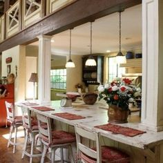 Traditional Spaces Rustic Cottage Design, like the idea to open up kitchen to living room Cottage white color is good as well Rustic Cottage, Rustic Farmhouse, Urban Farmhouse, Rustic Barn, Cottage Style, Kitchen Redo, Kitchen Remodel, Kitchen Ideas, Kitchen Renovations