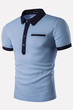 Men Light-blue Contrast Button Up Short Sleeve Casual Polo Shirt