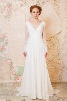 ivy and aster spring 2016 bridal v neckline sheer long sleeves lace trim pretty A-line wedding dress #pretty #weddingdress #wedding