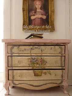 Marie-Antoinette Shabby pink and white chest of drawers - Furniture for French dollhouse in 1:12th scale on Etsy, $96.33