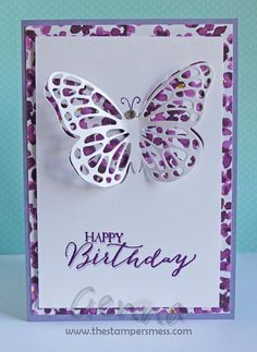 The Stampers Mess - Cards, Scrapbooking and other Papercraft Creations using Stampin' Up! Homemade Birthday Cards, Birthday Cards For Friends, Birthday Cards For Women, Happy Birthday Cards, Homemade Cards, Butterfly Cards, Flower Cards, Handmade Greeting Card Designs, Handmade Greetings