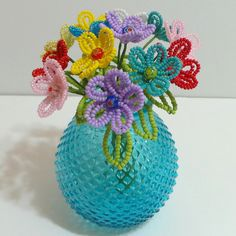 Beaded Flowers French Beaded Multicolor Buttercups With Millefiori Centers by Craftymoose on Etsy