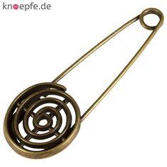 Ziernadel aus Metall in Altmessing mit Spirale
