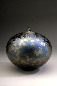 Bottle with Sea Foam Blue Glaze, Porcelain, Hideaki Miramura