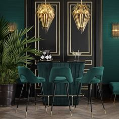 Art Deco Living Room, Living Room Green, Green Rooms, Art Deco Room, Living Room Bar, Dining Room, Interior Tropical, Interior Modern, Home Interior