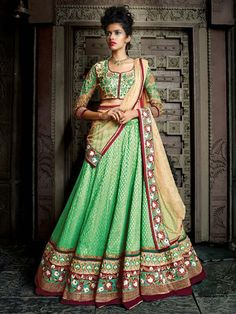 Green Designer Lehenga Choli Dupatta