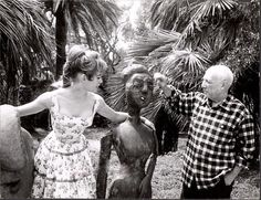 Brigitte visited Pablo Picasso at his studio at Vallauris outside Cannes during film festival of 1956