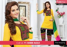 Beautiful Yellow Black Patiyala Suit at Rs1400 Only Visit http://enasasta.com/deal/yellow-black-patiyala-suit OR Call/WhatsAp-8288886065  Product Code :- ESC28P4  Deal is Valid For Today Only  Top:Cotton Bottom: Cotton Embriodered Dupatta: Chiffon Work: Embriodery Fabric : Unstitched  Get 5% Extra Discount for Advance Payment on every Deal  Cash On Delivery Available !!  FREE Shipping!!  Download Android App-http://goo.gl/Z1zG5f