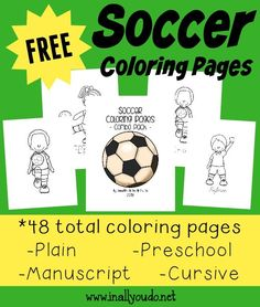 These SUPER CUTE and FUN Soccer Coloring Pages are perfect for any soccer lover in your home!! 48 total pages :: www.inallyoudo.net