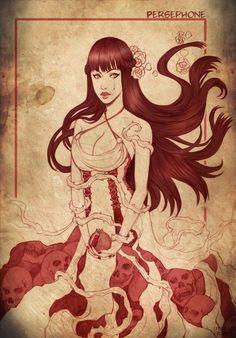 Persephone, é a deusa das ervas, flores, frutos e perfumes. É filha de Zeus e Demeter, Criada no Olímpo, lar da nobreza divina, Perséfone foi seqüestrada por seu tio Hades, mudando-se para o mundo inferior. Socorrida por seu meio-irmão Hermes, Perséfone passou a morar metade do ano no Olímpo nas estações primavera e verão e outra no mundo dos mortos nas estações de outono e inverno, quando era chamada de Koré pelos demais deuses ctônicos.