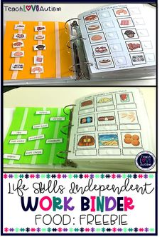 Food Independent Work Binder FREEBIE This life skills independent work binder free resource helps students work on concepts related to food. These are perfect for life skills and para-led or independent stations in a preK, kinder, Life Skills Classroom, Teaching Life Skills, Preschool Learning Activities, Homeschool Kindergarten, Autism Classroom, Special Education Classroom, Educational Activities, Preschool Binder, Sensory Activities