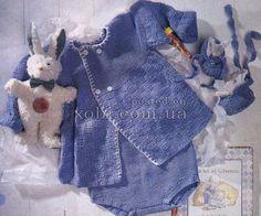 голубой комплект: кофточка, штанишки и пинетки