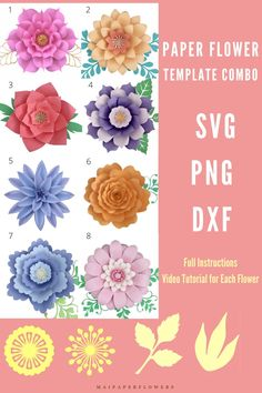 Crafting happily with this giant paper flower template combo! They are great for Cricut and Silhouette crafters. #paperflowertemplateSvg #paperflowertemplate #giantpaperflowers #paperflowertutorial #paperflowercricut #paperflowersdiy #paperflowerscraft #makingpaperflowers #howtopaperflowers Large Paper Flower Template, Flower Petal Template, Paper Flower Tutorial, Easy Paper Flowers, Paper Flower Backdrop, Flower Words, Giant Paper Flowers, Printable Templates, Flower Center