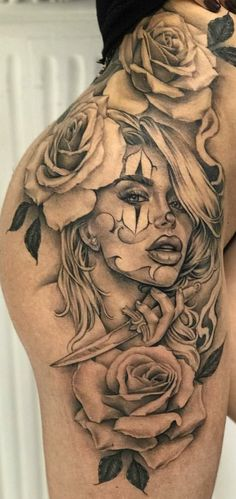 Lion & Lioness with roses Stomach Tattoos, Body Art Tattoos, Girl Tattoos, Tattoos For Guys, Tattoos For Women, Tigh Tattoo, Chicanas Tattoo, Skull Tattoos, Sleeve Tattoos