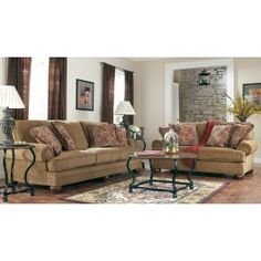 Richland Amber Sofa Set. The rounded set-back arms feature a plush padding that matches the supportive seat and back cushions to create an upholstery collection that truly cradles you in comfort. With the warm earth-toned fabric and the rich finished bun feet, this collection carries a sophistication and elegance without sacrificing the comfort you deserve. http://www.dfwfurniture.com/living-room-furniture/sofa-sets/richland-amber.html