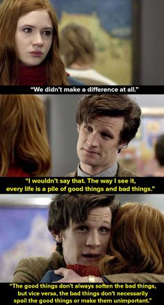 "When Amy (Karen Gillan) found out that Van Gogh still took his own life even though they tried to help. 20 ""Doctor Who"" Moments That People Say Have Helped Them Geronimo, Crossover, Doctor Who Quotes, Doctor Who Humor, Doctor Who Funny, Eleventh Doctor, Time Lords, Film Serie, David Tennant"
