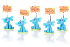 Set of 5 elephant to Capucakes handmade cake topper  polymer (cold porcelain) With or Without name by CustomShape on Etsy