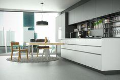 Wizualizacja kuchni z okapem do zabudowy Loteo Grey 3