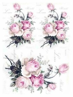 Vintage Diy, Vintage Rosen, Floral Vintage, Decoupage Vintage, Vintage Flowers, Vintage Paper, Vintage Prints, Vintage Images, Wax Paper Transfers