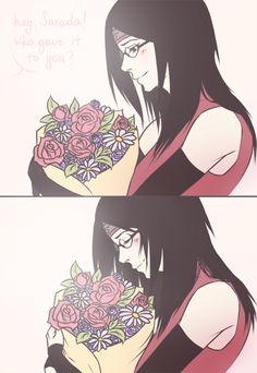 İ hope it's Boruto who give Sarada these flowers. Sarada E Boruto, Sasuke Sakura Sarada, Naruto Comic, Naruto Cute, Naruto Girls, Naruto Shippuden Anime, Naruto And Sasuke, Itachi Uchiha, Naruto Couples