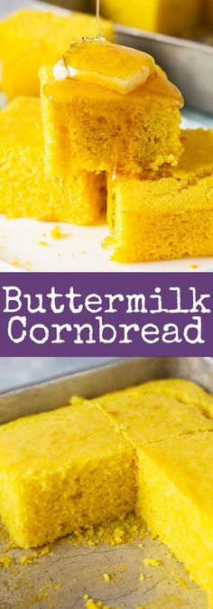 This Buttermilk Cornbread is the perfect balance between tender and crumbly! It's moist, slightly sweet and highly comforting! | www.countrysidecravings.com