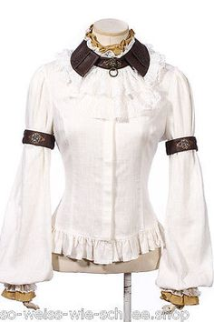 RQ-BL-Steampunk-SET-Bluse-Jabot-Choker-Gothic-Armband-Shirt-LARP-Victorian-SP159