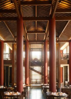 Bamboo Restaurant, Chinese Restaurant, Restaurant Layout, Restaurant Design, Ancient Chinese Architecture, Japan Interior, Accent Wall Designs, Chinese Interior, Dive Resort