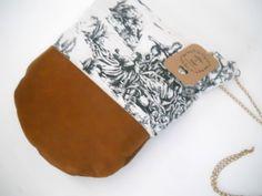 cotton and leather shoulder bag shoulder purse handbag. $74.00, via Etsy.