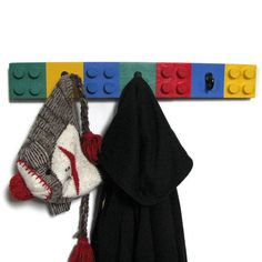 Lego Style Coat Rack  Unique Children's Decor by HappywoodGoods, $20.00~~we live and breathe (and vacuume up and step on and lose ;)) legos in this house--what a great idea!
