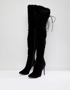 e3f68bc3d8b PrettyLittleThing Faux Fur Trim Heeled Over The Knee Boot