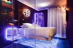 Levitating bed Transparent shower Fiber optics. You can book now! Just 1 or 2 clicks on picture, then enter your dates :-)