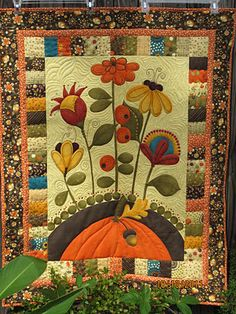autumn wall hanging panel quilted  I have this kit... hope to make this fall...
