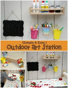 Outdoor Creative Art Station for Kids Outdoor Art Station for Kids! Summer tinkering wall for creati Outdoor Learning Spaces, Outdoor Play Areas, Outdoor Art, Outdoor Games, Arts And Crafts For Adults, Easy Arts And Crafts, Fun Crafts, Backyard Play, Backyard For Kids