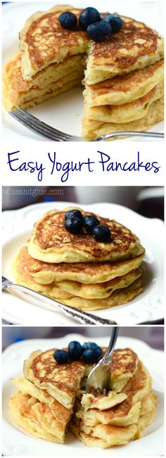 These Easy Yogurt Pancakes are the best pancakes I've ever had! Plus! You can use any flavor of yogurt to change them up!: