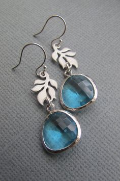 Aquamarine and Leaf Earrings in SILVER. Bridal. by RoyalGoldGifts