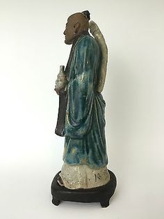 Antique Chinese Molded Mud Man Scholar Figurine Signed Fitted Wood Base