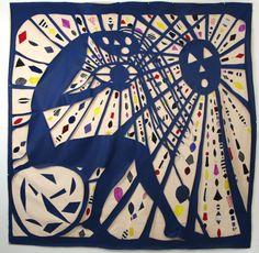 "Anya Kielar, ""Wall Hanging Scene 1,"" 2009, canvas, fabric, paint, glue, grommets, 96 x 96 inches"