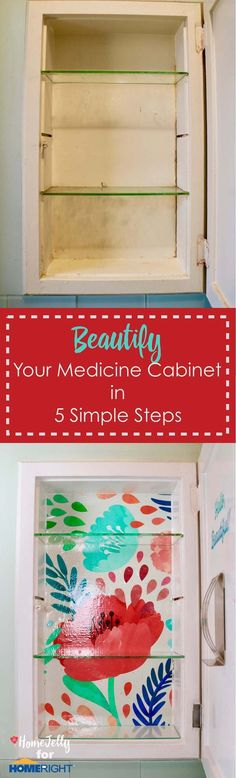 Beautify your medicine cabinet in 5 simple steps - this is a SUPER easy DIY project and can make your daily routine so bright and beautiful! Design Inspiration, Home Decor Items, Decor Design, Cabinet, Cleaning Hacks, Printed Shower Curtain, Home Decor, Medicine Cabinet