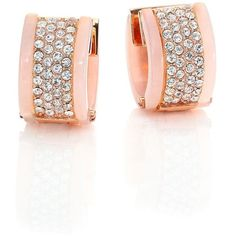 Michael Kors Jeweled Blush Pave Huggie Earrings ($100) ❤ liked on Polyvore featuring jewelry, earrings, apparel & accessories, rose gold, rose stud earrings, pave hoop earrings, clasp earrings, michael kors jewelry and earrings jewelry