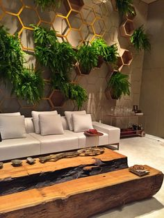 casa cor paraiba - living garden - decoração de sala com sofá, carrinho bar em acrílico e instalação de colmeias para colocar parede verde