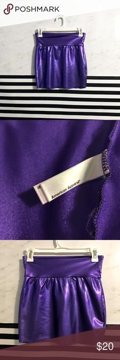 "Metallic purple mini skirt AMERICAN APPAREL Metallic purple ""lamé"" mini skirt. American Apparel. Has stretch and banded waistband. Excellent pre/owned condition. Fast shipping⭐️offers welcome within reason!⭐️ tags: edm rave concert show Halloween fun bold shiny American Apparel Skirts Mini"