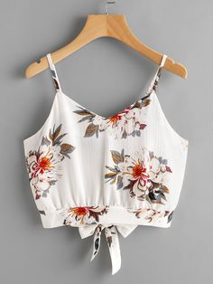 Shop Floral Print Random Split Tie Back Cami Top online. SheIn offers Floral Print Random Split Tie Back Cami Top & more to fit your fashionable needs. Cami Tops, Teen Crop Tops, Cami Crop Top, Vest Tops, Floral Crop Tops, Cheap Tank Tops, Cute Tank Tops, Summer Fashion Outfits, Casual Outfits