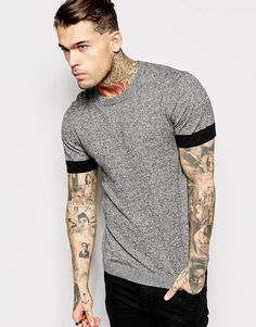 Image 1 of ASOS Knitted T-Shirt in Block Colour