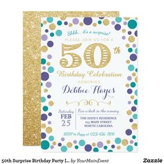 Surprise Birthday Party Invitation Are you planning a surprise party for your soon to be 50 year old? Here's the best invitation for a surprise party. Surprise Birthday Invitations, 50th Birthday Party, Birthday Celebration, Birthday Cards, Birthday Gifts, Birthday Ideas, Glitter Invitations, Zazzle Invitations, Create Your Own Invitations