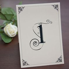 Sarah Alexis Stationery: Vintage Script Table Number in Black and Cream
