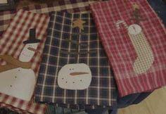 Primitive Tea Towels | ... .com ::. PatternMart: Prim Snowman Tea Towels E-Pattern 02PM