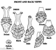 Bonnie's Pattern Shop - Folkwear 140 Flamenco Dress, Practice Skirt, Salsa, Ballroom Sewing Pattern 6-24