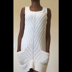 Ivory Sweater Dress Worn but in great condition! 100% Cotton! Super comfortable. Dresses Mini