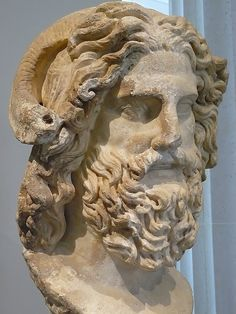 Marble head of Zeus Ammon discovered at the mouth of the Nile Roman Imperial period 120-160 CE